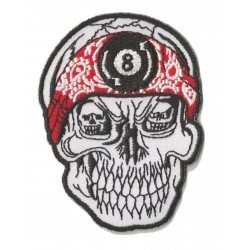 Patche écusson thermocollant 8 ball skull