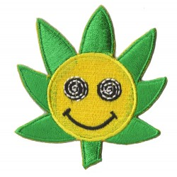 Patche écusson thermocollant Smiley Fleur