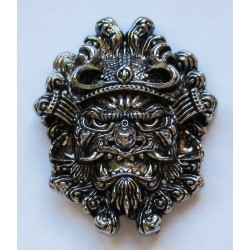 Chinese Mask cast metal badge