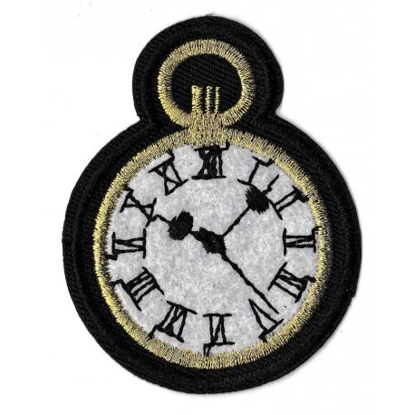 Patche écusson thermocollant horloge
