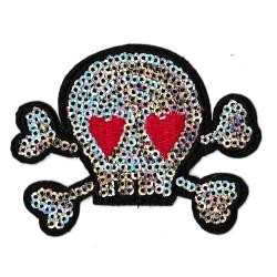 Patche écusson sequins tête de mort skull love