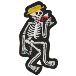 Patche écusson thermocollant Drinking Skeleton