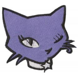Patche écusson thermocollant Chat violet