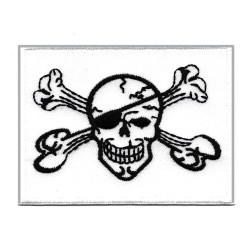 Patche écusson thermocollant drapeau pirate blanc