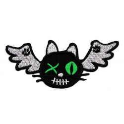 Patche écusson chat volant brodé broderie à coudre