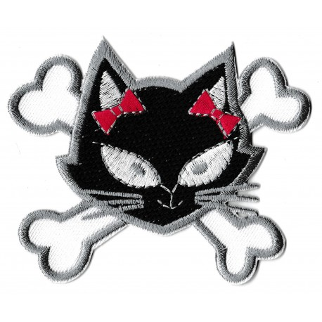 Iron-on Patch black cute pussy cat