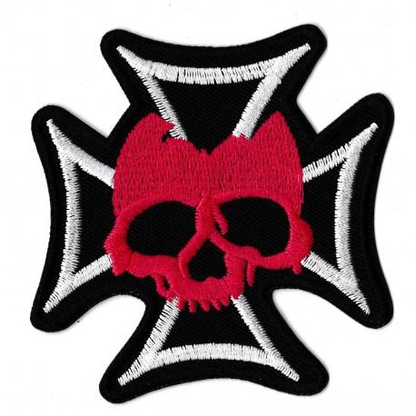 Patche écusson thermocollant Croix de Malte Croix Biker Couleurs
