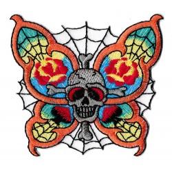 Patche écusson skull broderie papillon