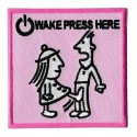 Aufnäher Patch Bügelbild wake press here