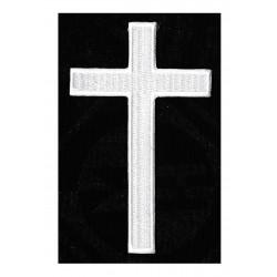 Patche écusson thermocollant croix chrétienne blanche