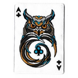 Iron-on Patch ace clubs owl