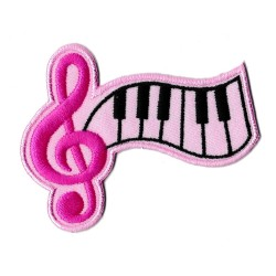 Iron-on Patch Music pink piano